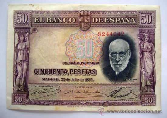 BILLETES DEL MUNDO . ESPAÑA . 50 PESETAS . 1935 (Numismática - Notafilia - Billetes Españoles)