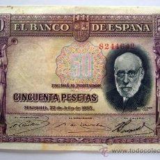 Billetes españoles: BILLETES DEL MUNDO . ESPAÑA . 50 PESETAS . 1935. Lote 29672737