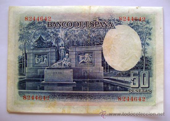 Billetes españoles: BILLETES DEL MUNDO . ESPAÑA . 50 PESETAS . 1935 - Foto 2 - 29672737