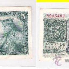 Billetes españoles: BILLETE DE 5 PESETAS DEL ESTADO ESPAÑOL (FRANCO) DE 1954 DE MADRID. SIN SERIE. SIN CIRCULAR. (F96).. Lote 29711597
