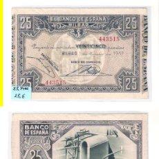 Billetes españoles: E23-SEGUNDA REPÚBLICA. BILLETE DE 25 PESETAS. BILBAO. 1937. MBC+. Lote 29837496