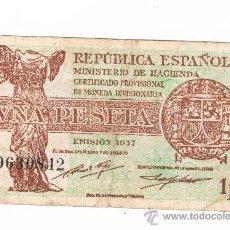 Billetes españoles: 1 PESETA REPUBLICA ESPAÑOLA EMISION 1937 SERIE B. Lote 29852297