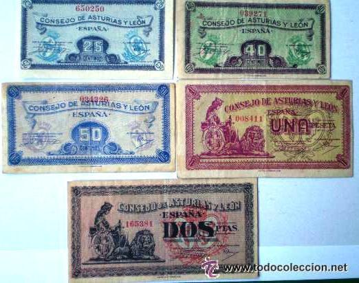 CONSEJO DE ASTURIAS Y LEON 25-40-50 CENTIMOS 1 Y 2 PESETAS JUEGO COMPLETO RARO VER FOTOS (Numismática - Notafilia - Billetes Españoles)