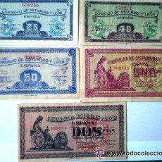 Billetes españoles: CONSEJO DE ASTURIAS Y LEON 25-40-50 CENTIMOS 1 Y 2 PESETAS JUEGO COMPLETO RARO VER FOTOS. Lote 30333843