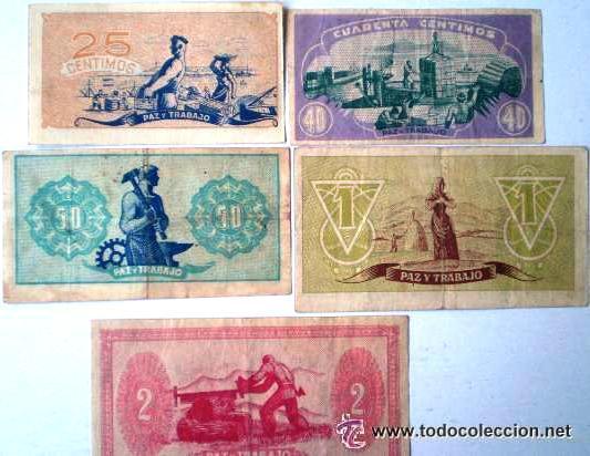 Billetes españoles: Consejo de Asturias y Leon 25-40-50 Centimos 1 y 2 Pesetas Juego Completo Raro Ver Fotos - Foto 2 - 30333843