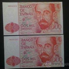 Billetes españoles: PAREJA CORRELATIVA 2000 PESETAS 1980. SIN SERIE, NÚMERO BAJO. SIN CIRCULAR, PLANCHA.. Lote 30794295