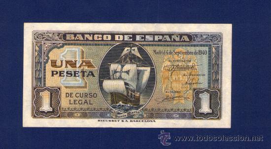 1 PESETA DE 1940 . CARABELA SANTA MARIA . SERIE G . PLANCHA (Numismática - Notafilia - Billetes Españoles)