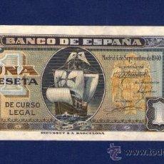 Billetes españoles: 1 PESETA DE 1940 . CARABELA SANTA MARIA . SERIE G . PLANCHA. Lote 30838694