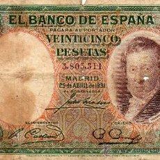 Billetes españoles: 25 PESETAS 1.931 (VICENTE LOPEZ) BC. Lote 31159208