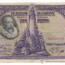 Billetes españoles: CIEN PESETAS, BANCO DE ESPAÑA, 15 DE AGOSTO DE 1928. SERIE Y NÚMERO: A2,605,639. CERVANTES.. Lote 31193294