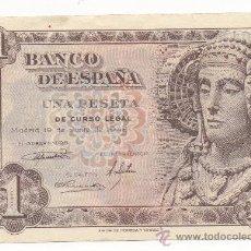 Billetes españoles: UNA PESETA. BANCO DE ESPAÑA, EMISIÓN DE 19 DE JUNIO DE 1948, SERIE Y NÚM. G01822044. DAMA DE ELCHE.. Lote 31308485