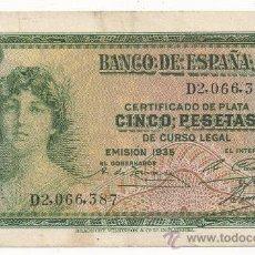 Billetes españoles: CINCO PESETAS. BANCO DE ESPAÑA, EMISIÓN DE 1935, SERIE Y NÚMERO D2,066,387. II REPÚBLICA ESPAÑOLA.. Lote 31309954
