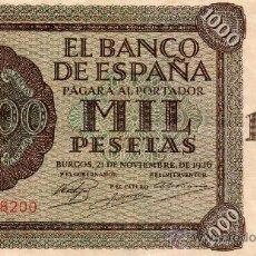 Billetes españoles: BILLETE 1000 PESETAS BANCO ESPAÑA EMISIÓN 21 NOVIEMBRE 1936. ALCAZAR DE TOLEDO. EBC. BONITO. Lote 31544753