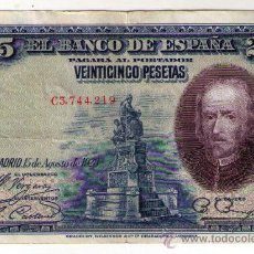Billetes españoles: BILLETE 25 PESETAS 15 AGOSTO 1928 - Nº C3,744,219 - CIRCULADO. Lote 31582232