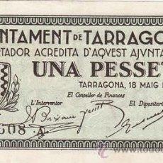 Billetes españoles: GUERRA CIVIL.BILLETE 1 PTA AJUNTAMENT TARRAGONA 18 DE MAIG 1937. SIN CIRCULAR. Lote 31760782