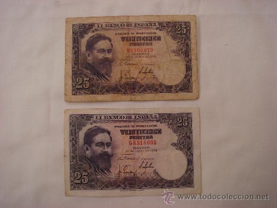 LOTE DE 2 BILLETES DE 25 PESETAS EMISIÓN 22 JULIO 1954 (Numismática - Notafilia - Billetes Españoles)