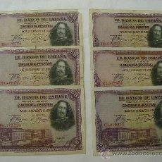 Billetes españoles: LOTE DE 6 BILLETES DE 50 PESETAS . Lote 32371814