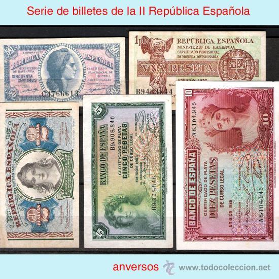 II REPUBLICA.-EMISIONES 1935, 1937 Y 1938. SERIE COMPLETA (5 BILLETES) CON LETRA DE SERIE. EBC (Numismática - Notafilia - Billetes Españoles)