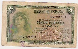 5 PESETAS DE 1935 (Numismática - Notafilia - Billetes Españoles)