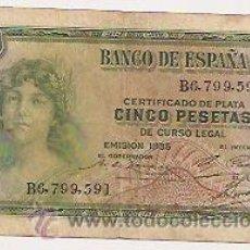Notas espanholas: 5 PESETAS DE 1935. Lote 32902422