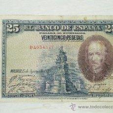 Billetes españoles: BILLETE DE 25 PESETAS DE 1928, CALDERON DE LA BARCA, ORIGINAL. . Lote 32934540