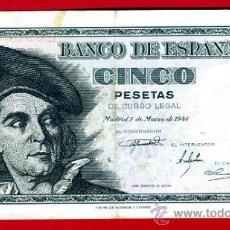 Billetes españoles: BILLETE 5 PESETAS 1948 , MBC+ , SERIE L , ORIGINAL , T521. Lote 33030740