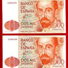 Billetes españoles: PAREJA 2 BILLETES 2000 PESETAS 1980 CORRELATIVOS , PLANCHA , OJO SIN SERIE , ORIGINALES. Lote 167147794