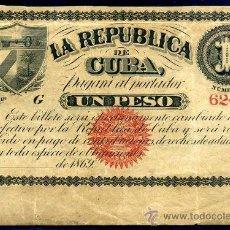 Billetes españoles: CUBA : 1 PESO 1869 EBC EPOCA COLONIAL ESPAÑOLA. Lote 27625736
