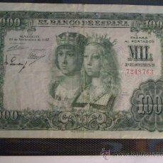 Billetes españoles: 1000 PESETAS 1957 SIN SERIE REYES CATOLICOS. Lote 38335930