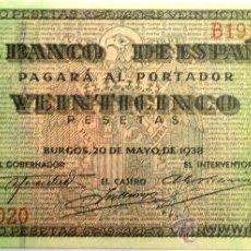 Billetes españoles: 25 PESETAS 20 DE MAYO DE 1938 VER FOTOS. Lote 33369182