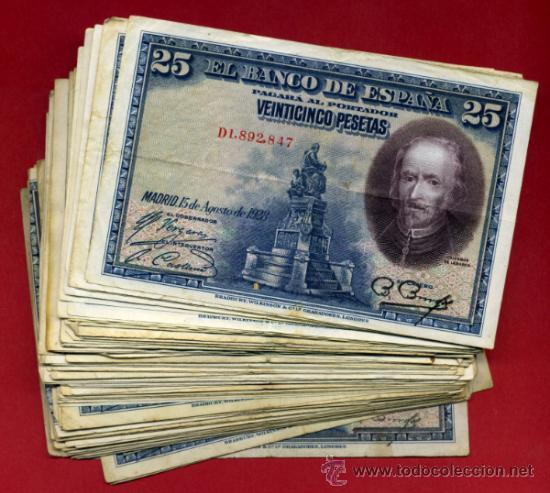 LOTE DE 100 BILLETES 25 PESETAS 1928 , DIFERENTES CONSERVACIONES, ORIGINALES (Numismática - Notafilia - Billetes Españoles)