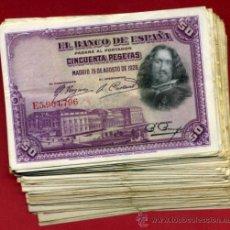 Billetes españoles: LOTE DE 100 BILLETES 50 PESETAS 1928 , DIFERENTES CONSERVACIONES, ORIGINALES. Lote 270636058