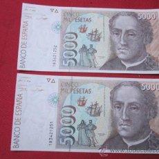 Billetes españoles: PAREJA CORRELATIVA BILLETE DE 5000 PESETAS 1992 PLANCHA SERIE 1R COLON. Lote 33434089