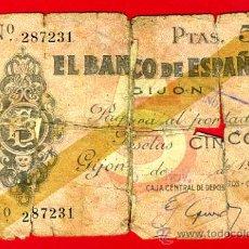 Billetes españoles: BILLETE BANCO GIJON , 5 PESETAS 1936 , BC- , ORIGINAL ,T231. Lote 33501661