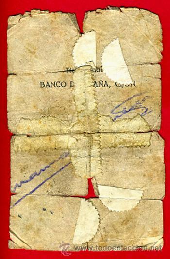 Billetes españoles: BILLETE BANCO GIJON , 5 PESETAS 1936 , BC- , ORIGINAL ,T231 - Foto 2 - 33501661