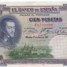 Billetes españoles: BILLETE DE 100 PESETAS DE 1925. FELIPE II. Lote 33559945