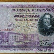 Billetes españoles: BILLETE 50 PESETAS DE 1928 VELAZQUEZ. Lote 33728189