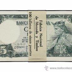 Notas espanholas: PAREJA CORRELATIVA 5 PESETAS JULIO 1954 ALFONSO X PLANCHA DE LUJO ESTRAIDO DEL TACO. Lote 104963571