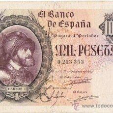 Billetes españoles: BILLETE 1000 PTS 1940 21 OCTUBRE ESTADO ESPAÑOL CARLOS I PESETAS NUMISBAZAR. Lote 34262854