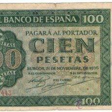 Billetes españoles: BILLETE 100 PTS 1936 21 NOVIEMBRE ESTADO ESPAÑOL BURGOS GIESECKE DEVRIENT PESETAS NUMISBAZAR. Lote 34263275