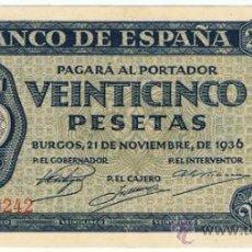 Billetes españoles: BILLETE 25 PTS 1936 21 NOVIEMBRE BURGOS ESTADO ESPAÑOL GIESECKE DEVRIENT PESETAS NUMISBAZAR. Lote 34263320