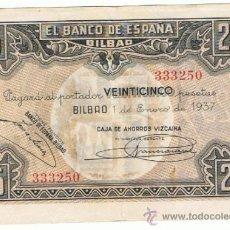 Billetes españoles: BILLETE 25 PTS 1937 1 ENERO BILBAO ESTADO ESPAÑOL PESETAS NUMISBAZAR. Lote 34263475