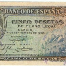 Billetes españoles: BILLETE 5 PTS 1940 4 SEPTIEMBRE ESTADO ESPAÑOL PESETAS NUMISBAZAR. Lote 34266573