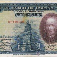 Billetes españoles: BILLETE 25 PTS 1928 15 AGOSTO ALFONSO XIII II REPÚBLICA CALDERON DE LA BARCA PESETAS NUMISBAZAR. Lote 34266756