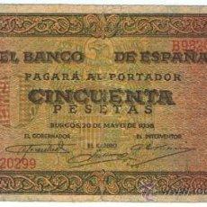 Billetes españoles: BILLETE 50 PTS 1938 20 MAYO ESTADO ESPAÑOL BURGOS GIESECKE DEVRIENT PESETAS NUMISBAZAR. Lote 34267560