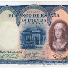 Billetes españoles: BILLETE 500 PTS 1927 24 JULIO ALFONSO XIII II REPÚBLICA ESPAÑA ISABEL LA CATÓLICA PESETAS NUMISBAZAR. Lote 34267800