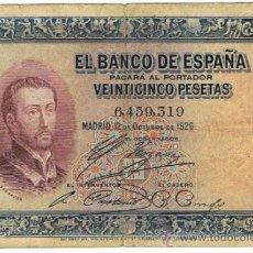 Billetes españoles: BILLETE 25 PTS 1926 12 OCTUBRE ALFONSO XIII II REPÚBLICA ESPAÑA PESETAS NUMISBAZAR. Lote 212410883