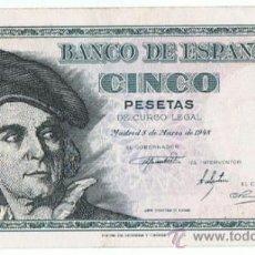 Billetes españoles: BILLETE 5 PTS 1948 5 MARZO ESTADO ESPAÑOL JUAN SEBASTIÁN DE ELCANO PESETAS NUMISBAZAR. Lote 34268495