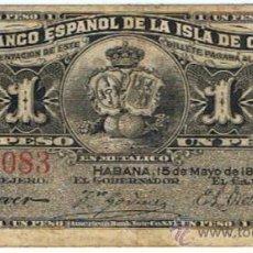 Billetes españoles: 1 PESO DE 15 DE MAYO DE 1896 DEL BANCO ESPAÑOL DE LA ISLA DE CUBA_NUMISBAZAR. Lote 34284566