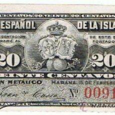 Billetes españoles: 20 CENTAVOS DE 15 DE FEBRERO DE 1897 DEL BANCO ESPAÑOL DE LA ISLA DE CUBA_NUMISBAZAR. Lote 34284678
